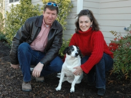Mikey, formerly Black Dog, with his family