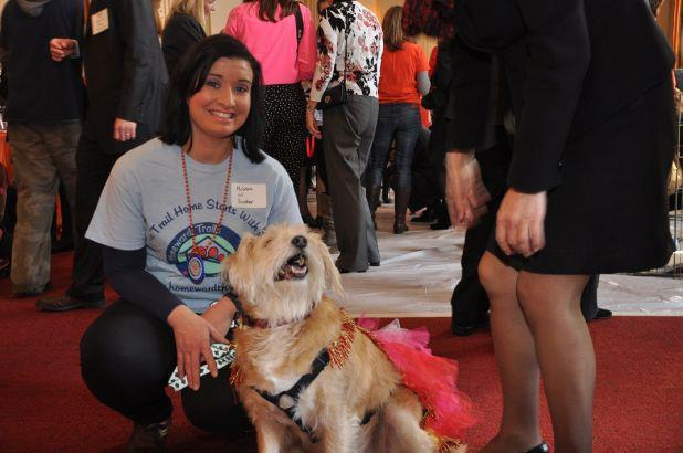 "HT volunteer Melissa Spurrier hangs with HT pooch Dexter at the ASPCA's annual ""Paws for Love"" adoption event, held on Capitol Hill on February 14, 2013"
